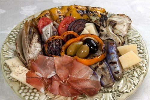 Grilled antipasto with speck and asiago for Barbara seelig