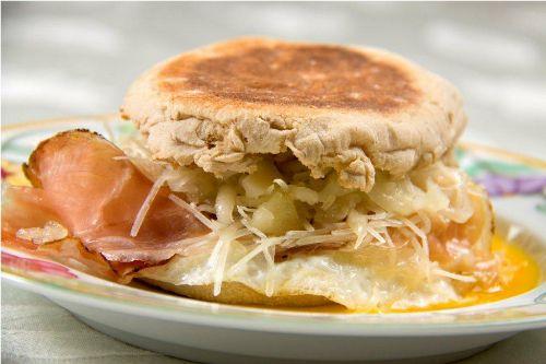Speck asiago breakfast sandwich for Barbara seelig