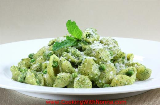 Small Shells with Mint Pistachio Pesto, Peas and Ricotta