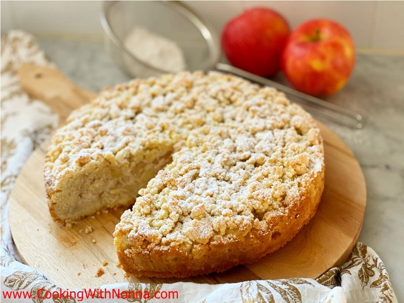 Apple Almond Ricotta Crumble Cake