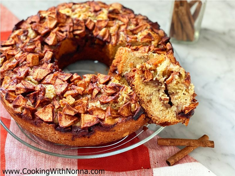 Apple Cinnamon Ciambella Cake with Toasted Almonds