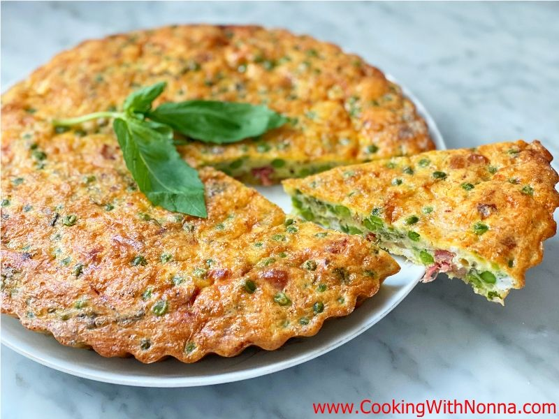 Baked Frittata with Peas and Pancetta