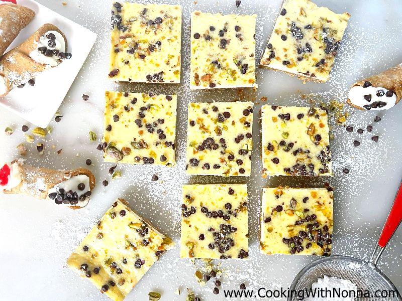 Cannoli Cheesecake Squares