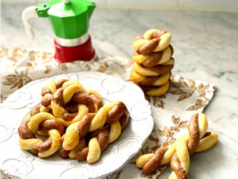 Chocolate & Vanilla Olive Oil Twist Cookies