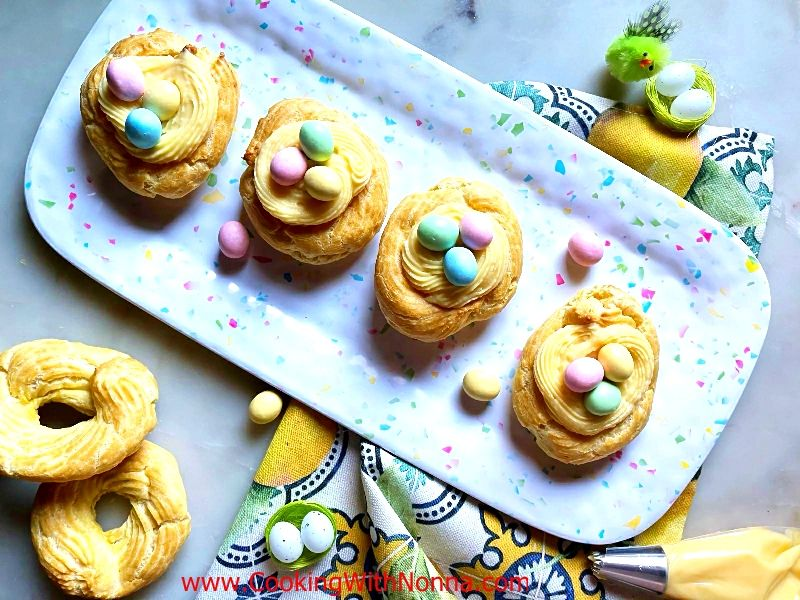 Easter Zeppole with Caramel Pastry Cream