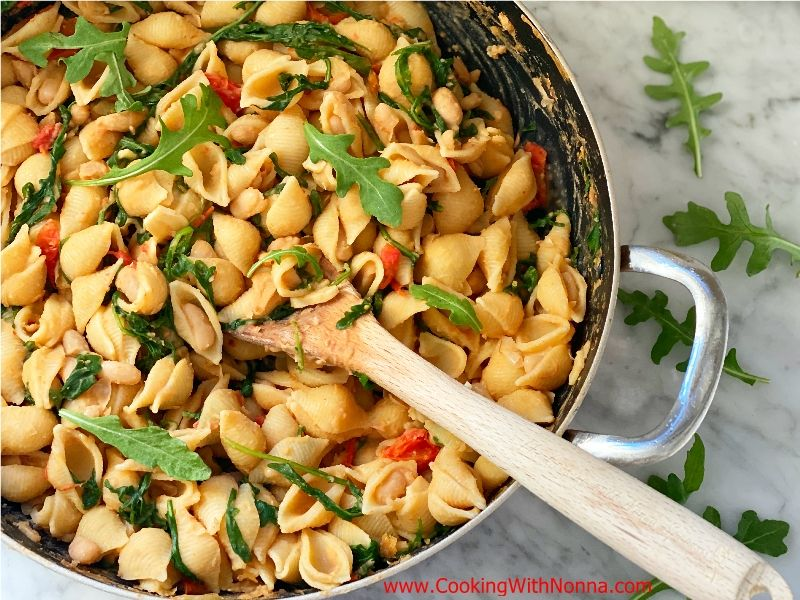 Shells with Creamy Cannellini Beans and Arugula