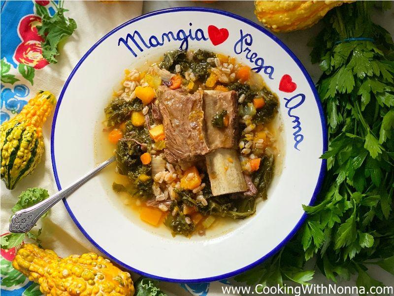 Short Rib Soup with Butternut Squash, Kale & Farro