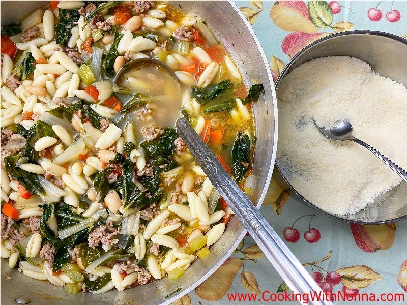Swiss Chard & Sausage Soup with Cavatelli