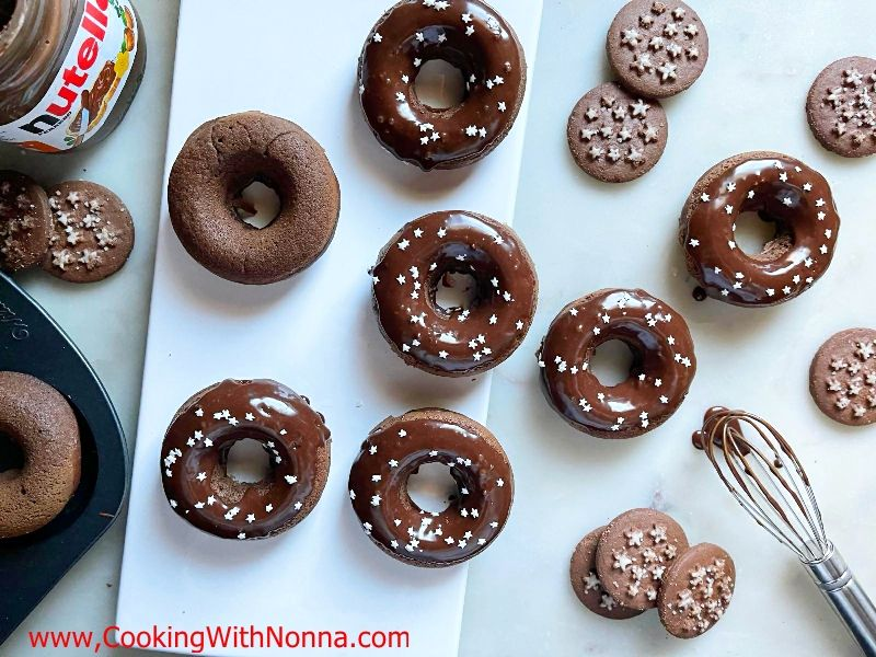 Pan di Stelle Donuts with Nutella Glaze