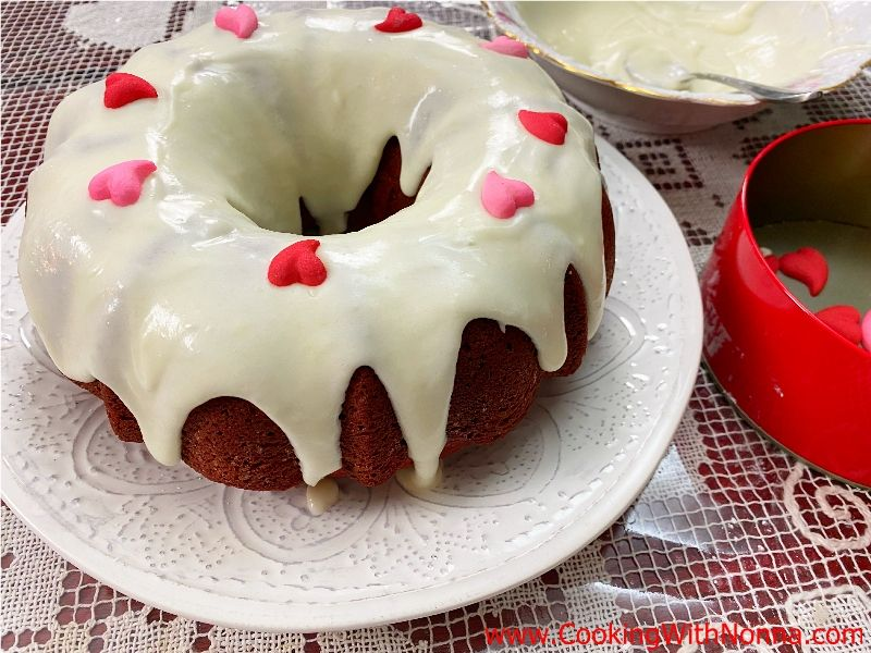 Red Velvet Ciambella with Mascarpone Cream Cheese Glaze