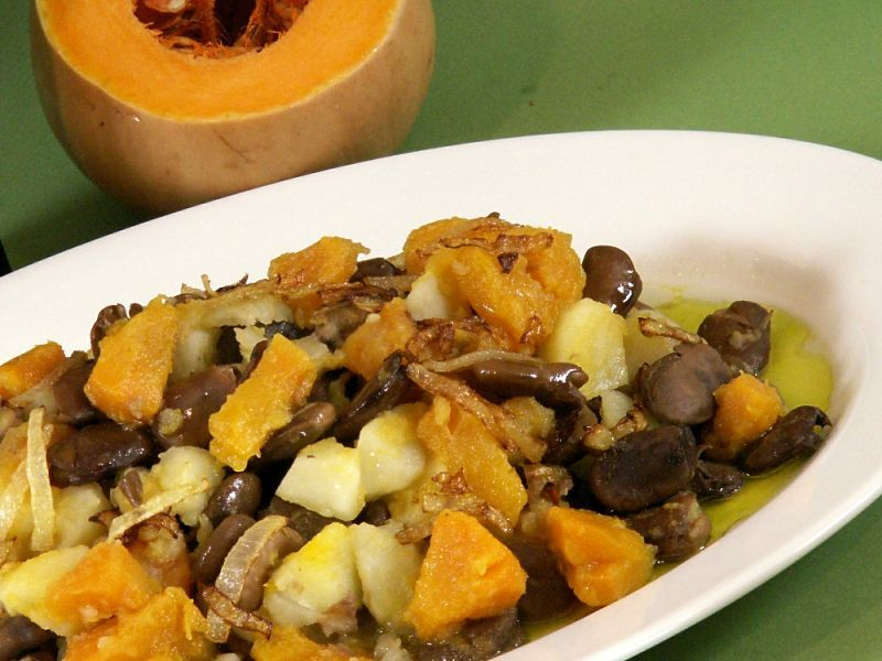 Butternut Squash, Potatoes and Fava Beans