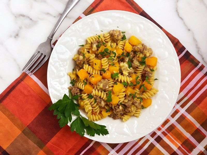 Fusilli with Butternut Squash and Sausage