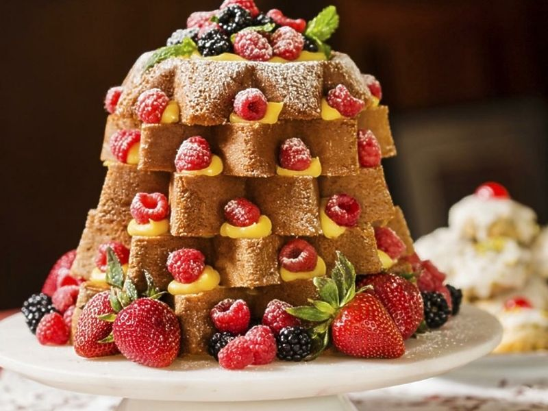 Pandoro Christmas Tree Cake with Limoncello Cream