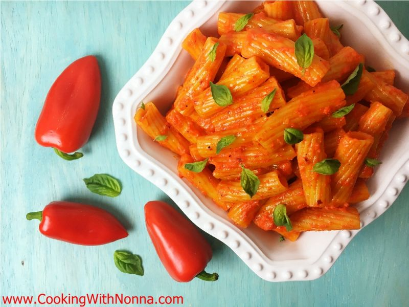 Rigatoni with Fire Roasted Peppers Sauce