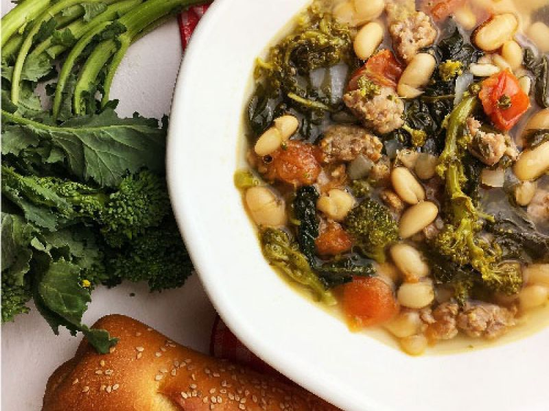 Broccoli Rabe & Sausage Soup with Cannellini Beans