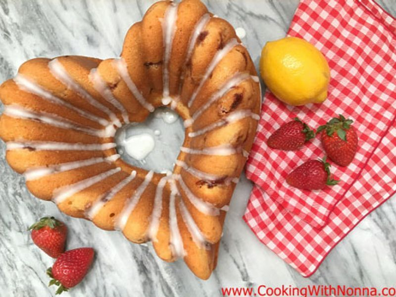 Lemon Strawberry Ricotta Cake