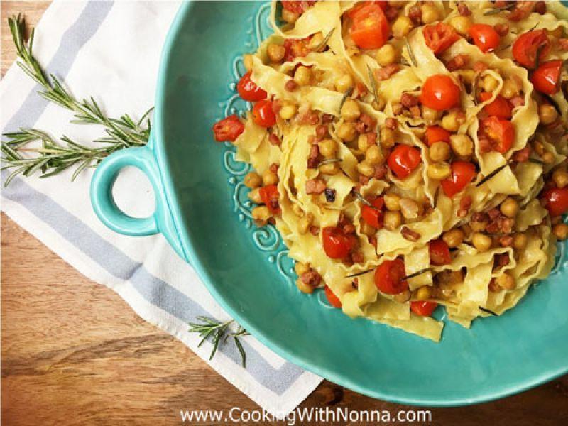 Mafaldine with Chickpeas and Prosciutto