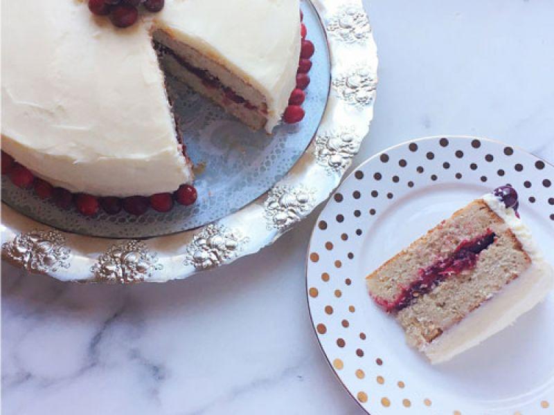 Orange Cranberry Cake with Mascarpone Cream Cheese
