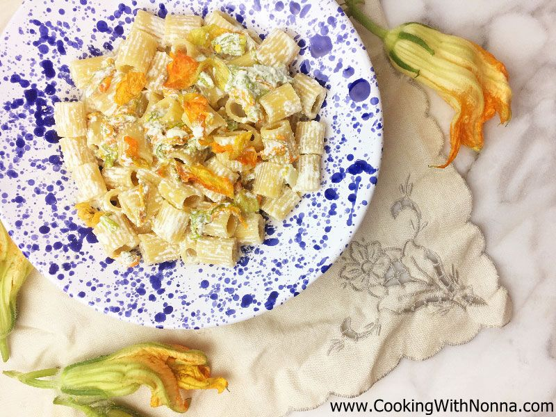 Pasta with Ricotta & Zucchini Flowers