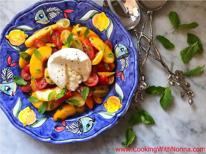 Peach and Tomato Salad with Burrata
