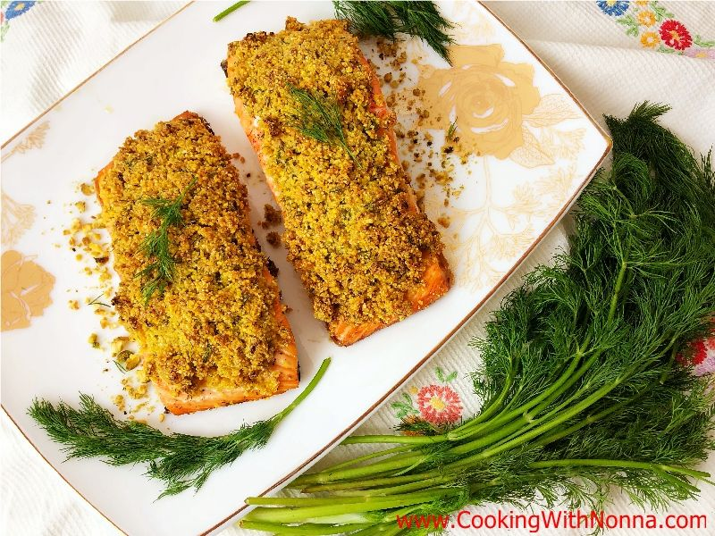 Polenta & Pistachio Crusted Salmon Recipe