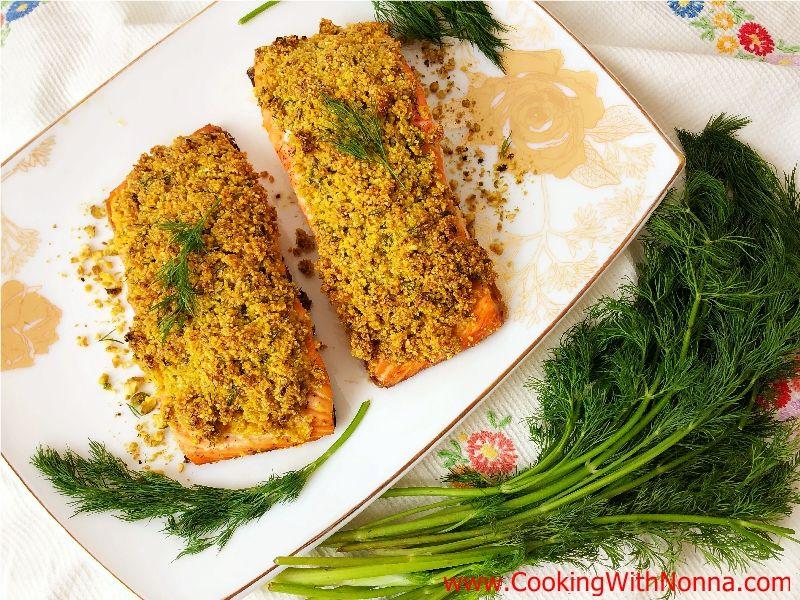 Polenta & Pistachio Crusted Salmon Recipe