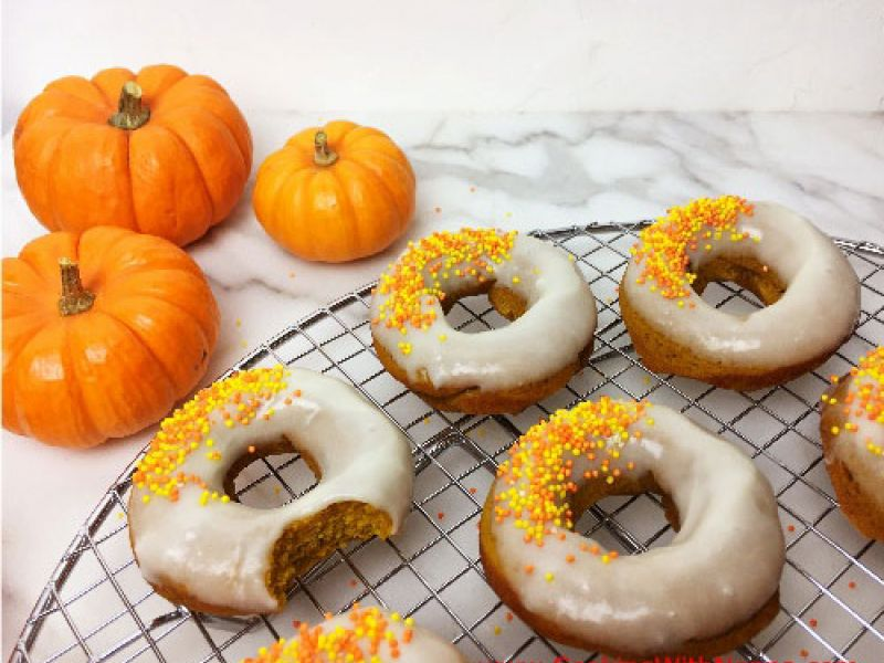 Pumpkin Spice Olive Oil Donuts with Cream Cheese Glaze