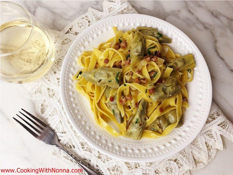 Tagliatelle with Artichokes and Pancetta Recipe