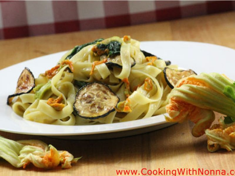Tagliatelle with Zucchini Flowers, Leaves and Fried Zucchini