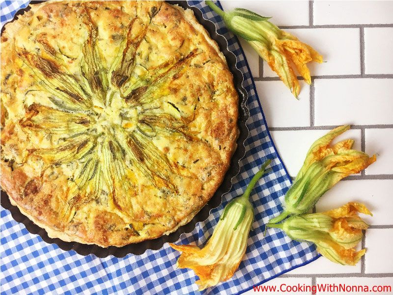 Zucchini Flowers & Ricotta Tart