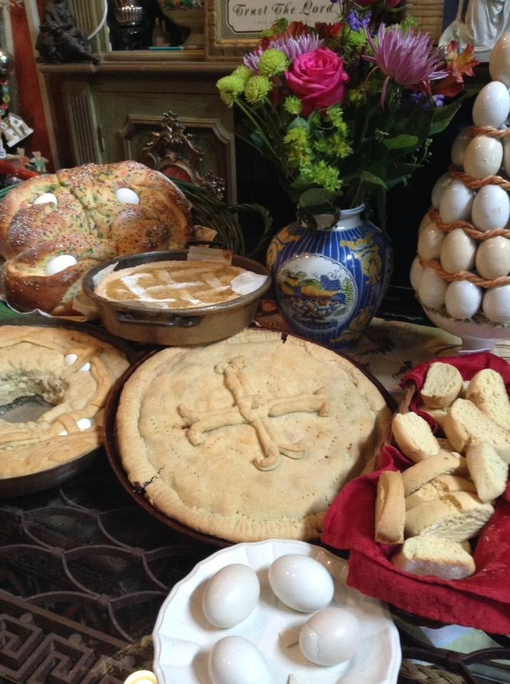 Easter Goodies 2018, baked March 31, Calabrese Easter Bread , Pastiera, Scalcione, Casatiello, Biscotti di Anice.