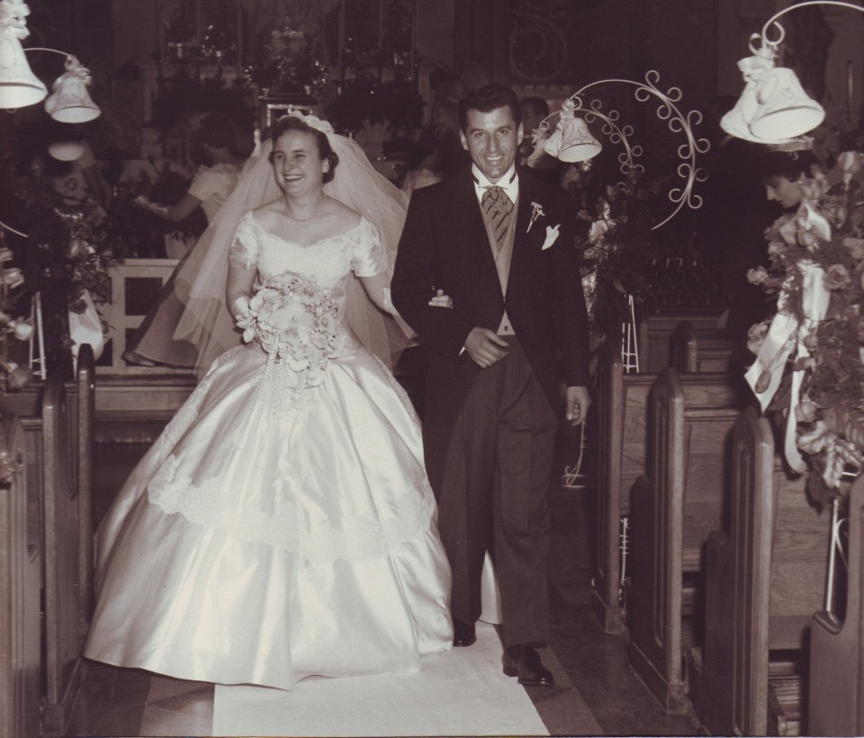Photos taken moments after my parents were married.  These are my favorite photos of their wedding.  The kiss at the back of the church is so romantic.  My parents are Joan Follina & Marion Brancato, married on April 5, 1956.  They are both still alive and will celebrate their 62nd anniversary this year.