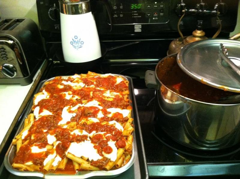 My take on the Pasta Al Forno recipe - fresh mozzarella, meat sauce - yum!