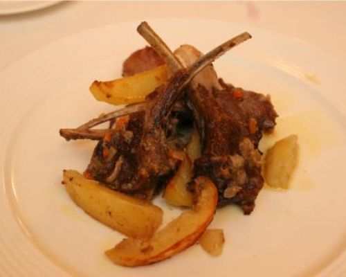 Roasted Lamb with Lampascioni and Potatoes