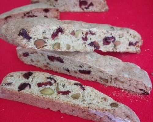 Christmas Cranberry Pistachio Biscotti