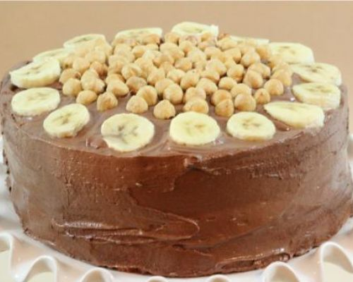 Banana Cream Cake with Nutella Frosting