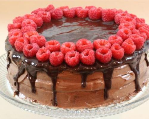 Raspberry Nutella Cake with Chocolate Ganache