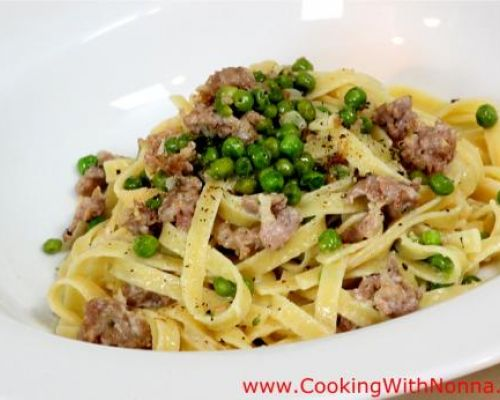 Fettuccine with Sausage and Mascarpone