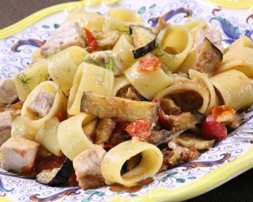 Calamari Pasta with Swordfish and Eggplant