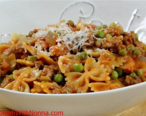 Farfalle with Peas and Sausage