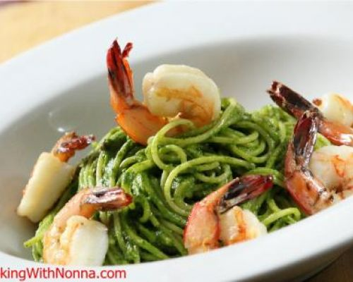 Spaghetti with Spinach Walnut Pesto, Pancetta and Shrimp