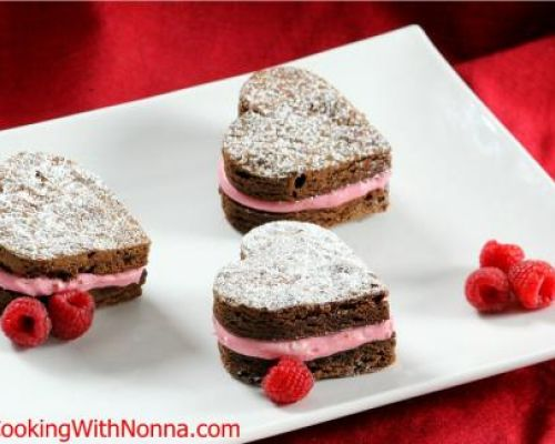 Nutella Heart Brownies with Raspberry Cream Cheese Buttercream