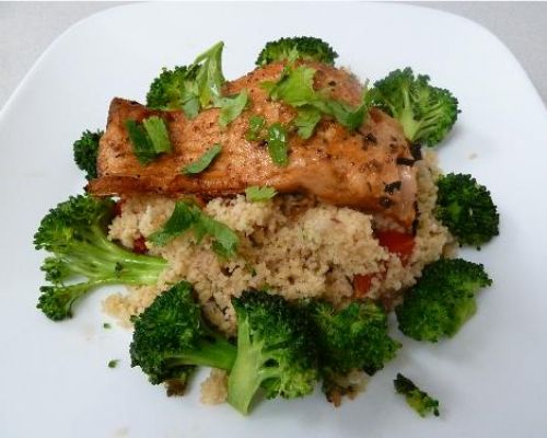 Lemony Salmon with Tomato Couscous